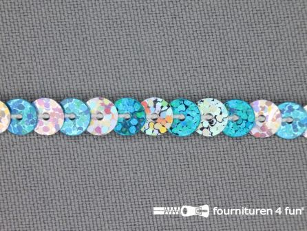 Pailletten band 6mm hologram zilver - aqua blauw