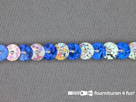 Pailletten band 6mm hologram zilver - kobalt blauw