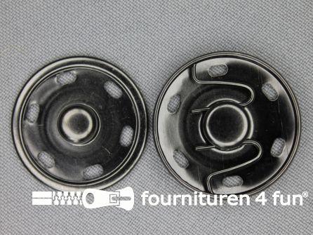 Mantel drukkers 30mm zwart zilver