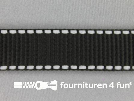 Geweven halsband reflectie buitenkant 25mm zwart