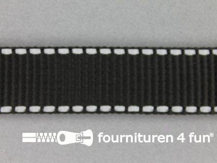 Rol 50 meter geweven halsband reflectie buitenkant 25mm zwart