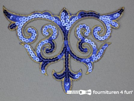 Pailletten applicatie 110x160mm kobalt blauw - goud