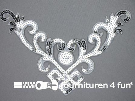 Pailletten applicatie 232x130mm zilver