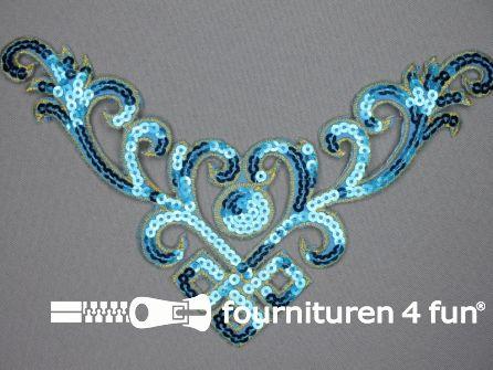 Pailletten applicatie 232x130mm aqua blauw - goud