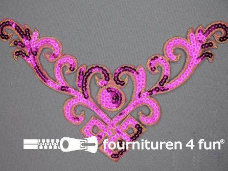 Pailletten applicatie 232x130mm fuchsia roze - goud