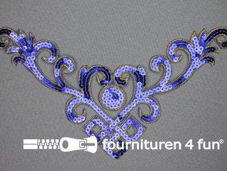 Pailletten applicatie 232x130mm kobalt blauw - goud
