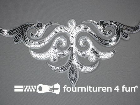 Pailletten applicatie 290x135mm zilver