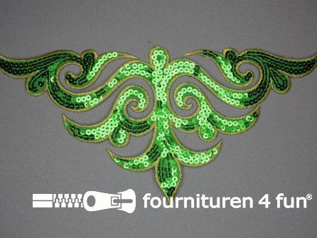 Pailletten applicatie 290x135mm groen - goud