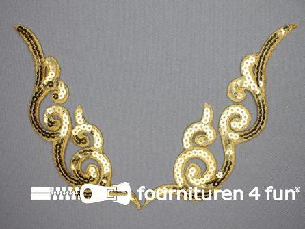 Pailletten applicatie 180x46mm goud per paar
