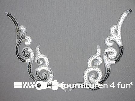 Pailletten applicatie 180x46mm zilver per paar