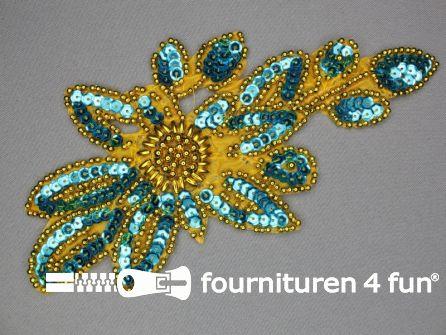 Pailletten applicatie 215x106mm aqua blauw - goud
