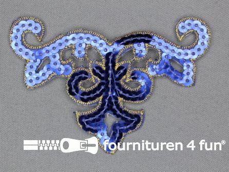Pailletten applicatie 95x65mm kobalt blauw - goud