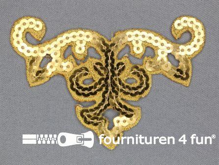 Pailletten applicatie 95x65mm goud