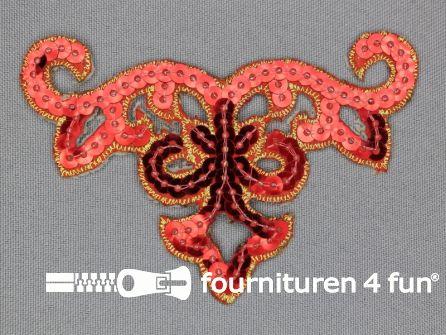 Pailletten applicatie 95x65mm rood - goud