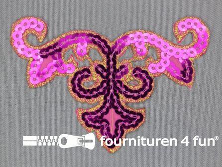 Pailletten applicatie 95x65mm fuchsia roze - goud