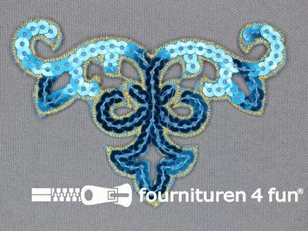 Pailletten applicatie 95x65mm aqua blauw - goud