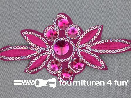 Pailletten applicatie 140x75mm fuchsia roze - zilver
