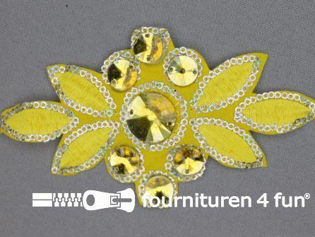 Pailletten applicatie 140x75mm geel - zilver