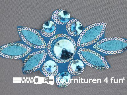 Pailletten applicatie 140x75mm aqua blauw - zilver