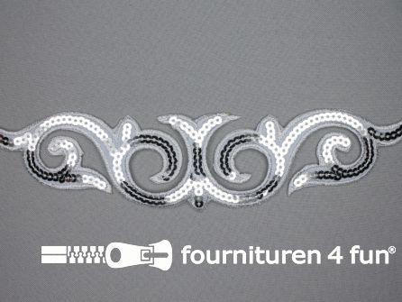 Pailletten applicatie 242x56mm zilver