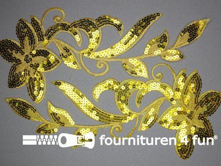 Pailletten applicatie 310x140mm geel goud per paar