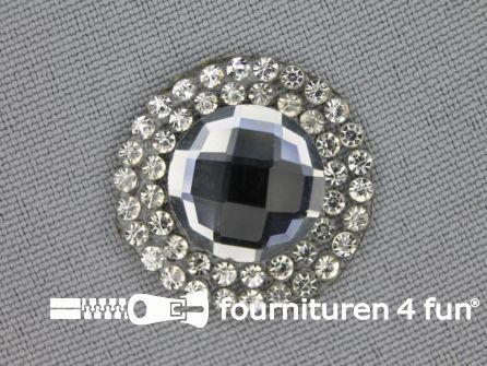 Strass steen opstrijkbaar rond 23mm donker zilver