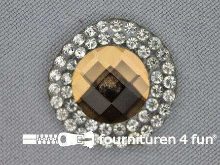 Strass steen opstrijkbaar rond 23mm antiek goud