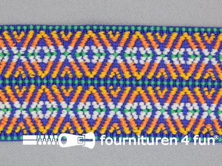 Elastiek multicolor 50mm blauw oranje groen wit