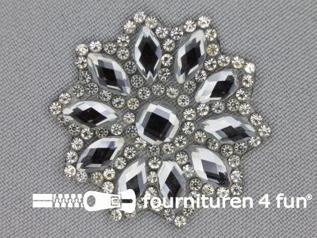 Strass decoratie opstrijkbaar rond 39mm donker zilver