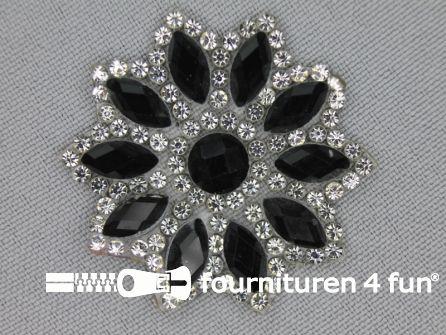 Strass decoratie opstrijkbaar rond 39mm zwart zilver