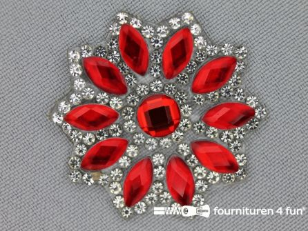 Strass decoratie opstrijkbaar rond 39mm rood zilver