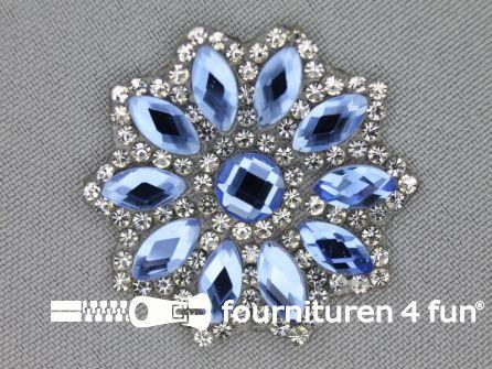 Strass decoratie opstrijkbaar rond 39mm aqua blauw zilver