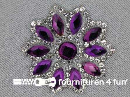 Strass decoratie opstrijkbaar rond 39mm paars zilver