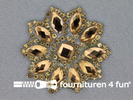Strass decoratie opstrijkbaar rond 39mm antiek goud