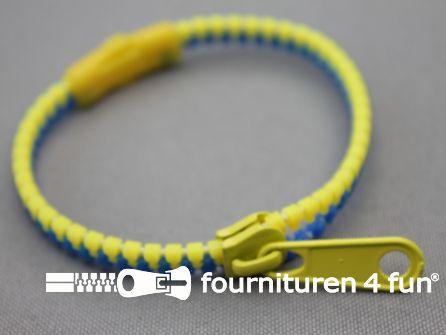 Rits armband 190x5mm geel blauw