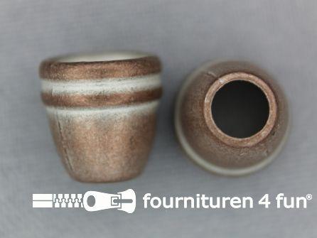 Metalen koord uiteinde 12x11mm rood brons