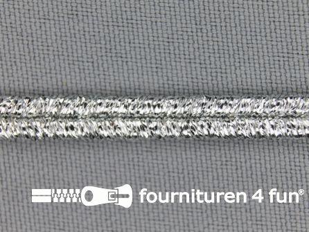 Soutache koord 5mm glans zilver