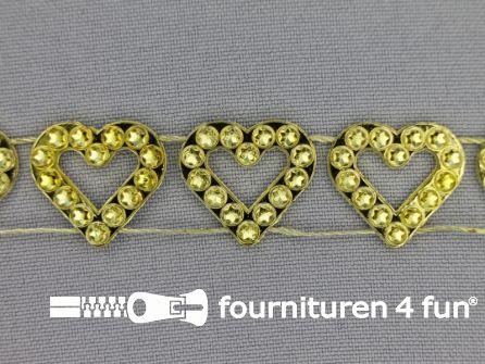 Strass band 18mm hartjes goud