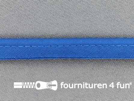 Katoenen paspelband 10mm donker aqua blauw