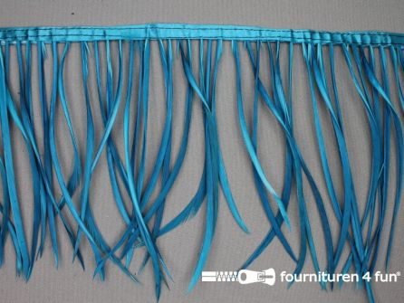 Hanenveren band 150mm donker aqua blauw 95cm