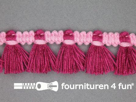 Klosjes franje 26mm donker fuchsia - roze