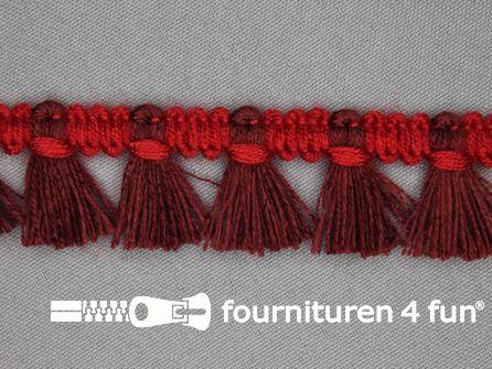 Klosjes franje 26mm bordeaux - rood