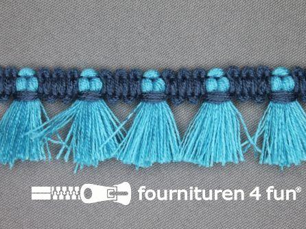 Klosjes franje 26mm aqua blauw - jeans blauw