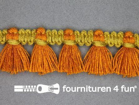 Klosjes franje 26mm brique - oker geel