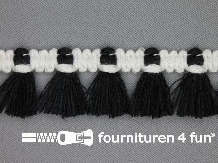 Klosjes franje 26mm zwart - wit
