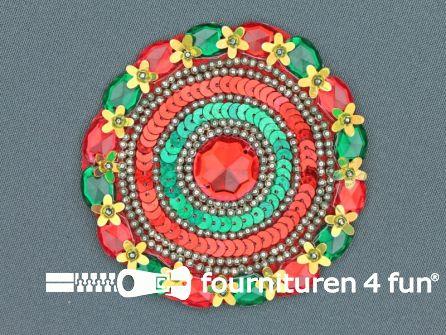 Broche 80-85mm rood - geel - groen - rode steen