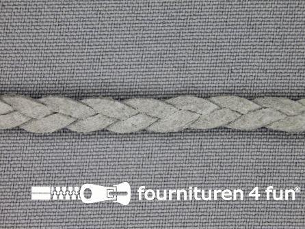 Suede gevlochten band 6mm grijs