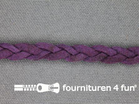 Suede gevlochten band 6mm paars