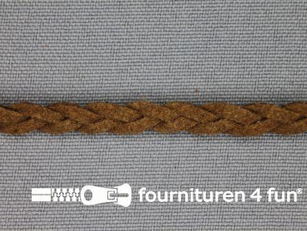 Suede gevlochten band 6mm donker camel
