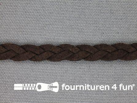 Suede gevlochten band 6mm donker bruin